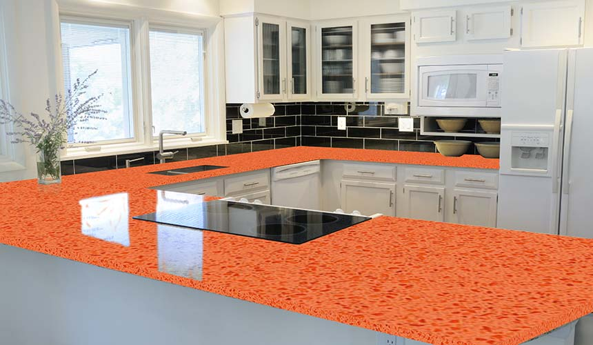 Granite Natural Stone Countertops   Orange Quartz Finish