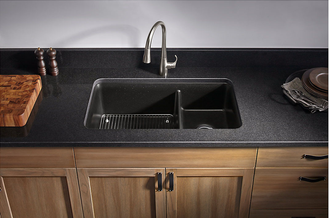 Kohler - Cairn, Undermount Double Bowl Kitchen Sink - Matte Black ...