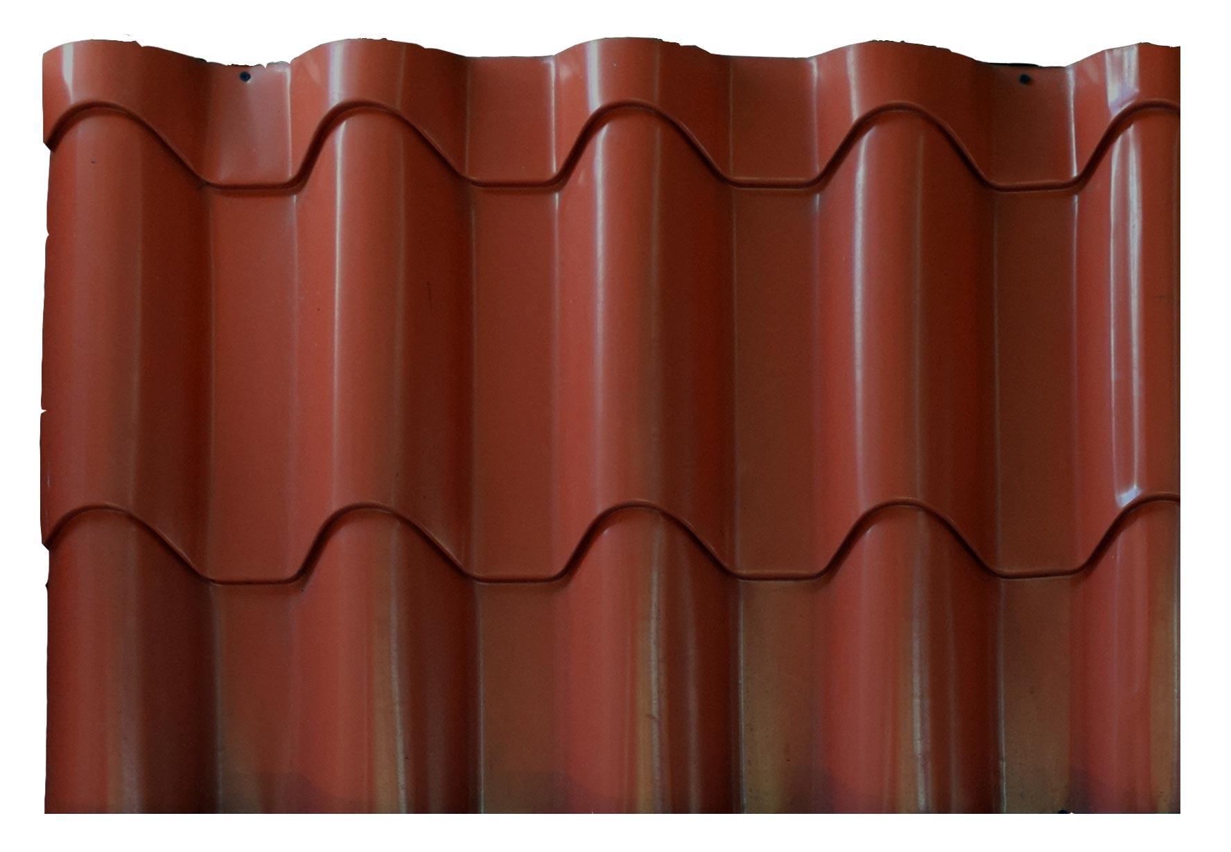 Clay Profile Metal Roof Tiles Dark Brown Finish